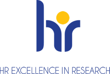 HRS4R Logo con una h y una r en azul y el texto HR EXCELLENCE RESEARCH