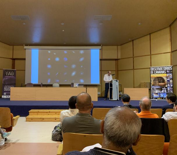 Michael Disney during his speech, this morning, at the IAU Symposium 355