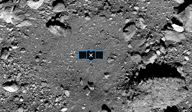 "Simulation of the OSIRIS-REx ""touch-and-go"" mission in Nightingale crater."