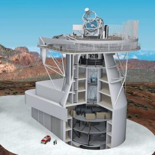 Implementation of large telescopic infrastructures. 3D model of the European Solar Telescope and its building