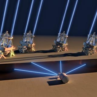 how the light is collected by the four VLT telescope units in the ESPRESSO instrument, located under the VLT platform.