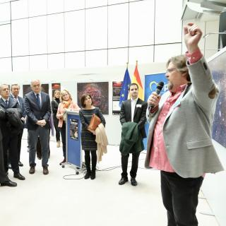 "Alfred Rosenberg during the opening of the exhibition ""100 square moons"" in the European Parliment."