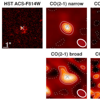 HST imaging and narrow and broad components ALMA maps of ID2299. The top-left panel shows the HST-F814W imaging of the source, sampling the UV rest-frame emission from young stars. The top (bottom) rows show the CO(2-1), CO(5-4), [CI](2-1) and CO(7-6) ALMA maps of the narrow (broad) emission
