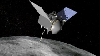 3D design of OSIRIS-REx spacecraft at the asteroid Bennu. Credit: NASA/Goddard Space Flight Center.