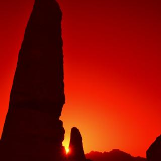 Spring equinox sunset at the Obelisks in Jabal Madbah, in ancient Petra